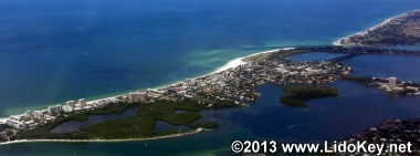 Aerial view of Lido Key Sarasota, FL looking to the northwest.